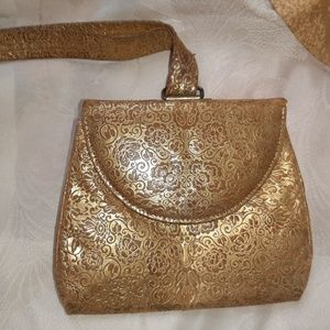 Vintage French Wristlet from Paris Gold Leather